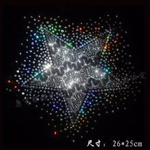 Free Shipping~10pcs/Lot Wholesale  star laser   Sequin Transfer Iron On Hotfix  Gem Crystal  Motif Patch  Bling