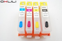 4 color with chip 655 HP655 Refillable Ink Cartridge for HP Deskjet Ink Advantage 3525 4615 4625 5525 6520 6525 6625 All-in-One