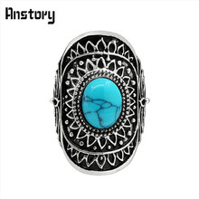 Sunflower White Oval Stone Rings For Women Vintage Antique Silver Plated Fashion Jewelry TR471(China)