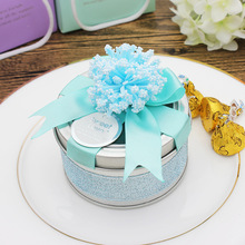 Wedding supplies European candy boxes bow with flowers round candy box high-grade tin wedding gift boxes 75*45mm
