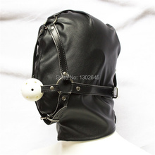 Buy PU Leather Fetish Ball Gag , Roleplay Slave Full Head Harness Bondage Mouth Gagged Hood Mask Adult Games Sex Products