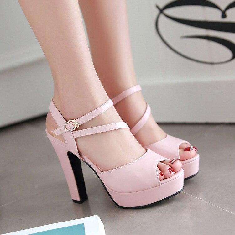 spike heels women platform Female open toe shoes Peep Toe lady slingbacks ankle strap woman 12cm high heels Buckle pumps pink<br>