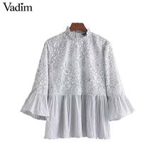 Vadim women sweet lace patchwork floral striped shirt flare sleeve ruffled collar blouse pleated fashion tops blusas LT2298(China)