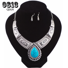Turquoise Jewelry Sets Silver Color Earrings Necklace for Women MB