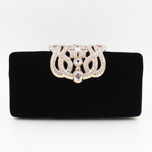 Free Shipping New 2017 Fashion Quality Black Hot Pink Red with Diamond Mini Party Dinner Bags Day Clutches Evening Bag RQR053