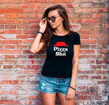 Buy 2018 Summer Funny Pizza Slut Print T Shirt Women Summer Party Gift Short Sleeve Cotton T-shirt Female Tops Tees Harajuku Tshirts