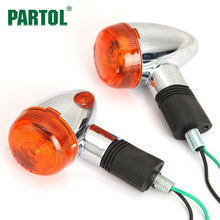 Partol 12V Motorcycle Turn Signal Light Front Rear Turn Signals Chrome ABS Amber Light Color For Honda Suzuki Harley Cafe racer(China)