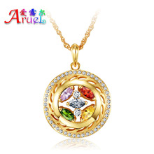 Fashion Austrian crystals Cz diamond necklace For women girls wedding Jewelry dubai gold plated charm necklaces & pendents