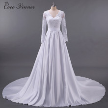 C.V European Style V Neck Long Sleeve Lace Appliques Plus Size Wedding Dress 2018 A line Satin bridal dress wedding gowns W0040(China)