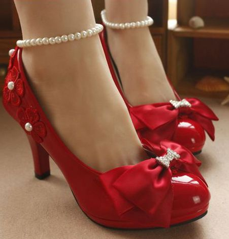 Red pumps shoes with bows for women ankle bracelet pearls handmade delicate elegant wedding dress pump proms party shoe<br>