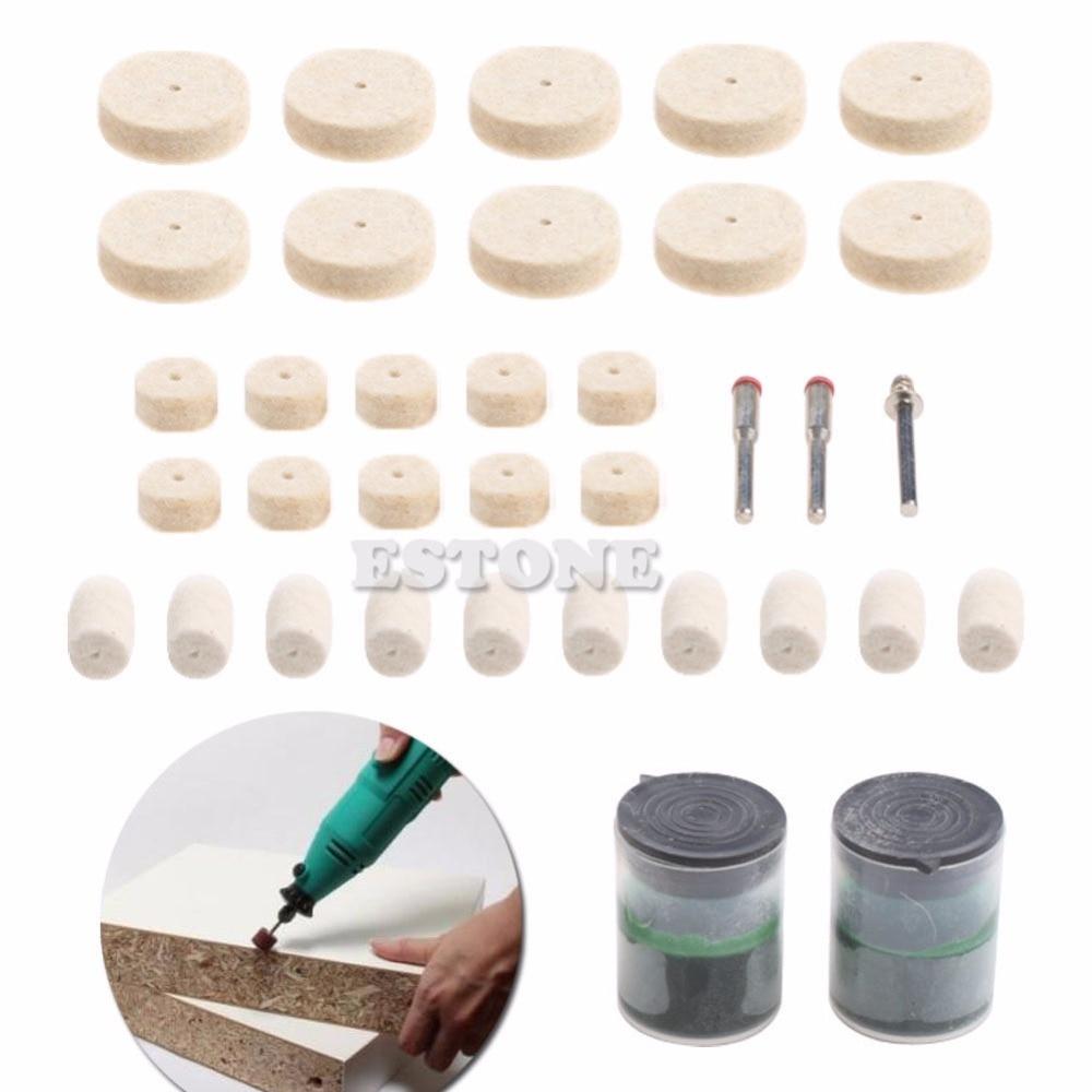 35Pcs Soft Felt Polishing Buffing Burr Wheel Kit For Dremel Rotary Tools 1/8<br><br>Aliexpress