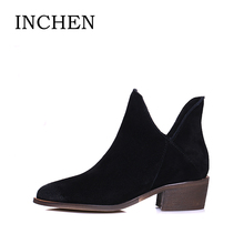 INCHEN Chelsea Boots Cow Suede Leather Ankle Boots Pointed Toe Low Heels Slip-on Short Plush Women Boots 2017 Fashion Shoes B8