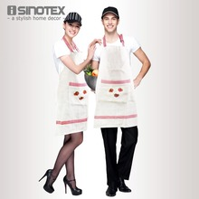 1pcs/lot Women Aprons Embroidery avental Linen Kitchen Cooking For Dining Room Barbecue Restaurant With Pocket Heart Halterneck