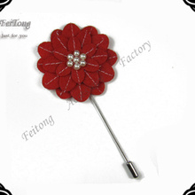 20pcs/lot New Promotion Felt Lapel Flowers Pin Handmade Boutonniere Floral Stick Pin Mens Accessories 16 Colors For Selection(China)