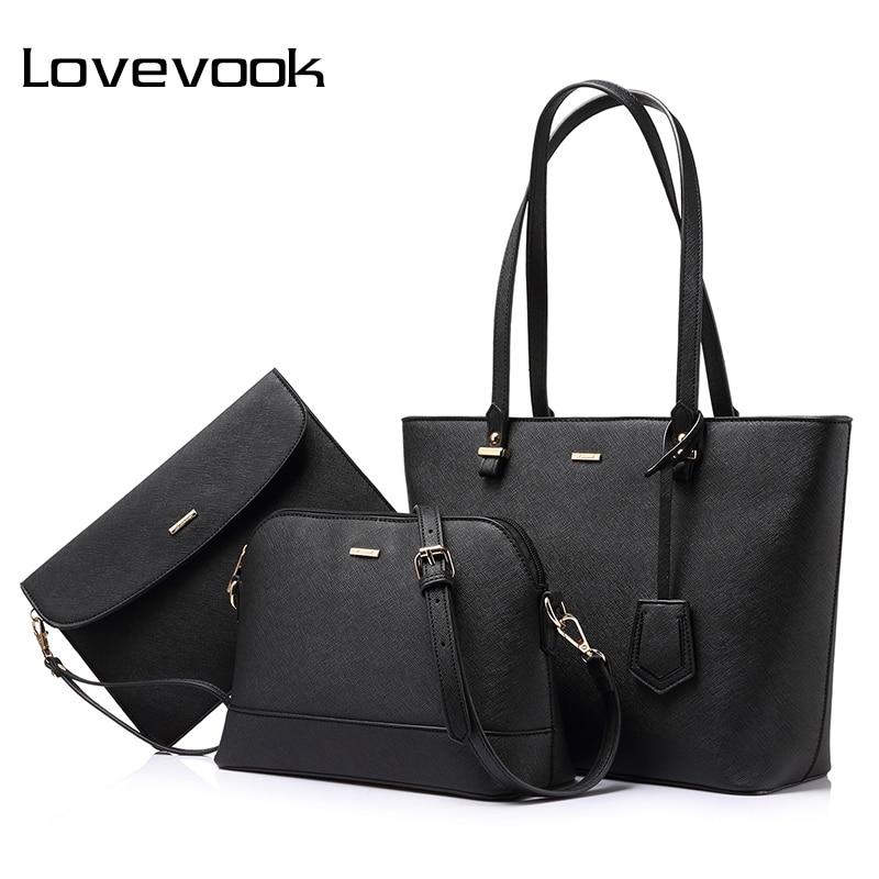LOVEVOOK brand 3 sets handbag women composite bag female large capacity tote bag fashion shoulder crossbody bag small purse<br>