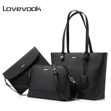 LOVEVOOK brand 3 sets handbag women composite bag female large capacity tote bag fashion shoulder crossbody bag small purse(China)