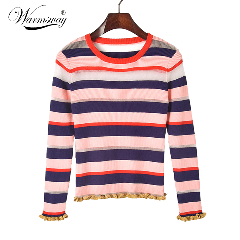 New Arrivals Autumn Sexy Transparent Contrast Color Stripe Sweater Women Bling Mesh Ruffle Female Slim Blusas Tops B-144