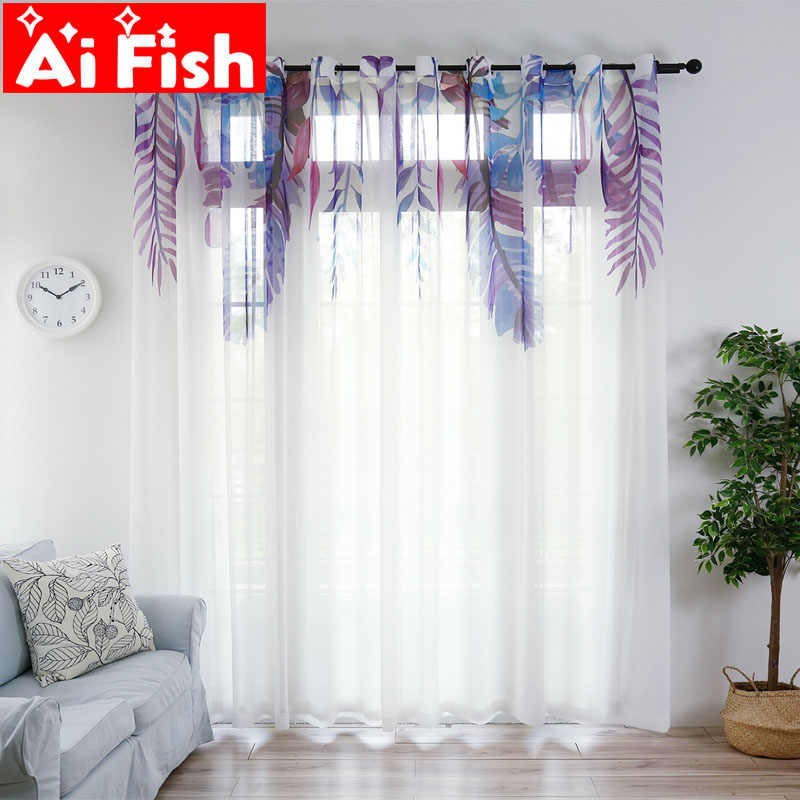 Nordic purple feathers modern window screen Sheer tulle curtains for living room white gauze drapes for the bedroom my069#40