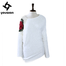 1608 Youaxon Plus Size Batwing Long Sleeve Crocheted Pullover Mohair Oversized asymmetrical sweater	Women a+ Sweaters