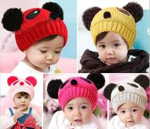 Fashion Brand Winter Knitted Newborn Baby Hat Girls Boys Wool Panda Cap Children Beanie Infant Toddlers Knit Crochet