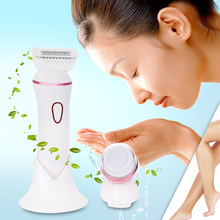 RIWA RF - 1201 Rechargeable Wet Dry Electric 2 in 1 Lady Shaver Epilator Facial Cleaning Brush Shaver For Woman(China)