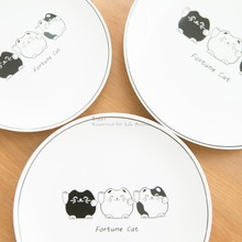 1Pcs KEYAMA beautifully cute white black cats breakfast flat plates Kitchen cutlery Tableware dishes New home decorative gifts