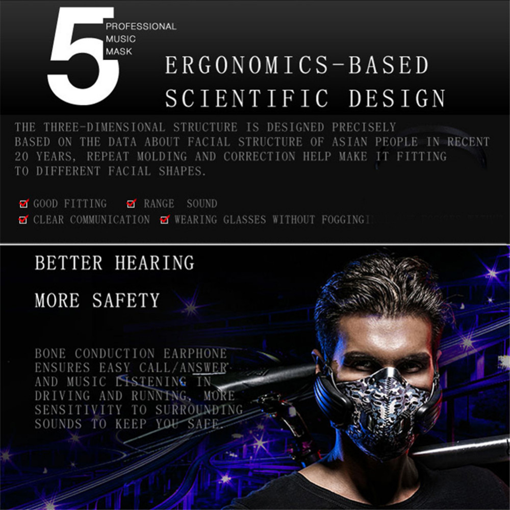 Bluetooth Headphones Mask Anti-pollution Mask Wireless Bone Conduction Headphone Headset Dust Proofmask for Outdoor Sports