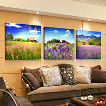 3 panel Lavender painting Printed Painting on canvas Swan Painting wall art Home Decorative Art Canvas Picture W-146(China)