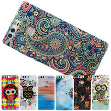 Honey New arrival IMD Cover Back Case For Huawei P9 / P9 lite Soft TPU skin protector colorful Puzzle owl Dandelion high quality