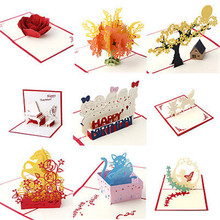 3D Pop Up Greeting Cards Happy Birthday Merry Christmas Handmade Card-P101
