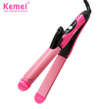 Kemei KM-1055 2 in 1 Professional Hair Straightener Irons Hair Curler  Flat Iron Straightening Styling Tools Free Shipping