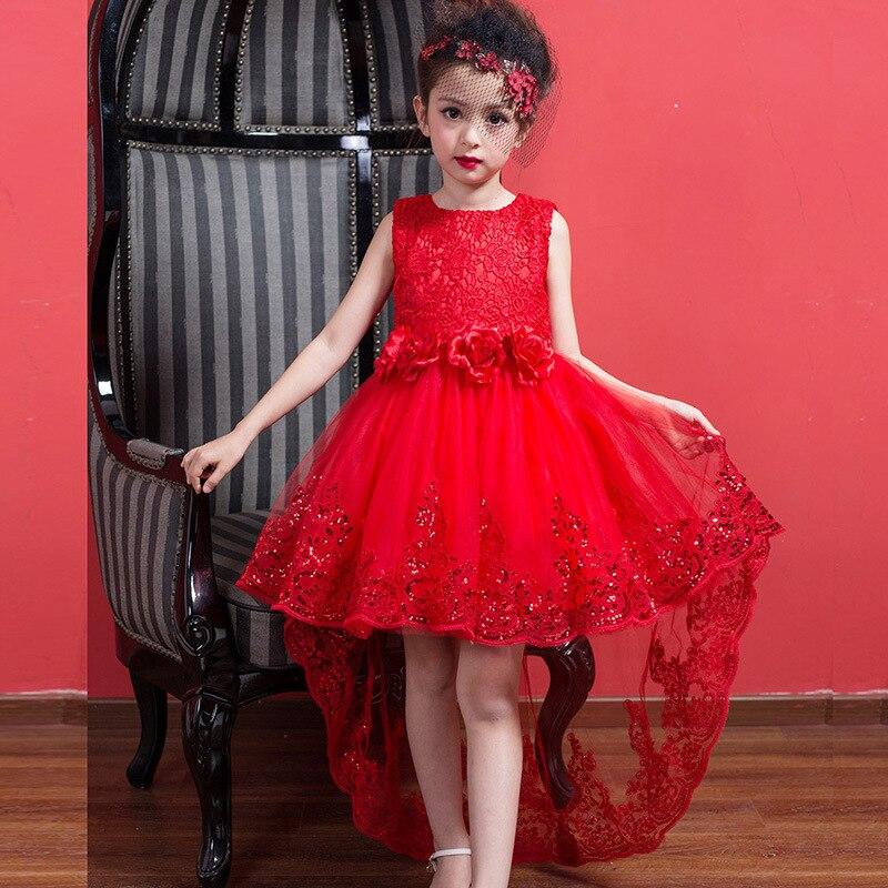 Short Front Long Back Girls Dress Wedding Red Tullet Fancy Flower Girl Vestido 2017 Gilrs Clothes 3 4 6 8 10 12 Years RKF174013<br>