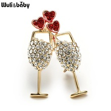 Full Rhinestone Alloy Cups Brooch Men Women's Metal Red Crystal Couple Cups Weddings Banquet Brooch Pins Christmas Gifts(China)