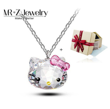Top Quality 2016 Christmas Valentine Gifts Cute Cat Austrian Crystal Necklace Hello Kitty Jewelry For Girls Free Shipping