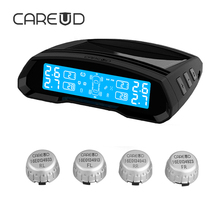CAREUD TPMS Universal Tyre Pressure Monitor 4 Standard External Sensors Solar and USB Port Double Way Car Electronics TPMS Solar