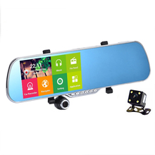 "5.0"" IPS Touch Android 4.4 FHD1080P Dash Camera Parking Car Dvrs Rearview Mirror Video Recorder Car DVR Dual Camera GPS+Free map"