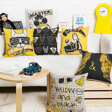 Modern Trend Personality Yellow Pop Pillow Cover Cushion Linen Cotton Sofa Car Office Home Decoration Waist Pillow Cushion