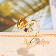 Lovely Leaf Natural Gemstone Citrine Rings for Women 925 Sterling Silver Hot Sale Original Jewelry Adjustable Fine Jewelry Gifts(China)
