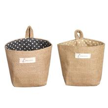 New Qualified  Polka Dot Small Storage Sack Cloth Hanging Non Woven Storage Basket  Levert Dropship dig637
