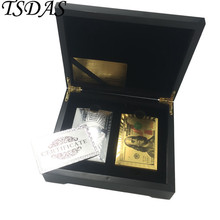 Wedding Refund Gift 24k Gold Plated Playing 2pcs(Silver & Colors) $100 Dollar Packing in Black Wooden Case(China)