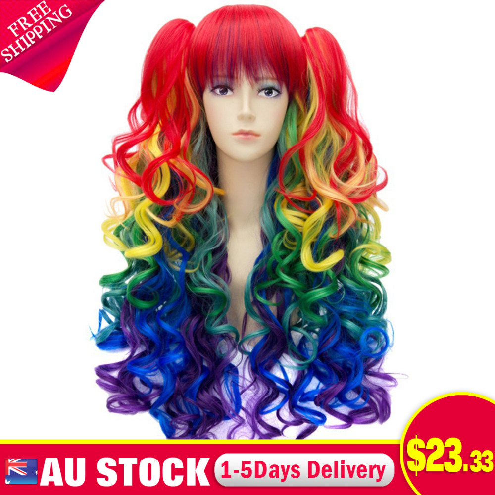 Women Long Rainbow Color Gradient Curly Bangs Double Ponytail Side Cosplay Wigs<br><br>Aliexpress