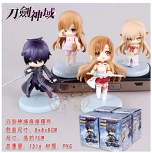 4pcs/set Sword Art Online Kirito Asuna japanese anime pvc  action figure toy doll gifts for kids Beauty girl hot sell