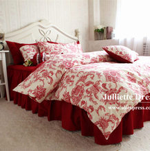 New European vintage bedding set French pastoral duvet cover tribute silk bed sheet wedding decoration bedding red bedspread