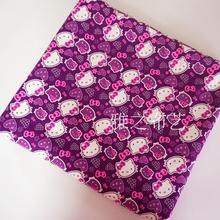 90x140cm Purple Hello Kitty Kawaii Cartoon Cute Thick Cotton Polyester Canvas Fabric Lovely Fabric DIY Handmade Patchwork Cloth