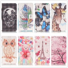 For LG K5 K7 Stylus 2 LS775 Case 3D Relief Cartoon Patterns Card Slots Cash Wallet PU Leather Stand Cover Wrist Strap