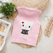 New Hot Kids Vest Sweater Baby Girls Sweater Children Autumn Spring Sweater Kids  V-neck Hello Kitty Vest Sweater
