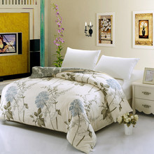 Elegant style 100% Cotton Floral Duvet Cover Flower Bedding Blue white Color Twin Full Queen King Size Decor bed adult girl gif(China)