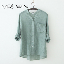 Mrs win 2017 summer new large size protection clothing literary small fresh cotton long-sleeved shirt collar shirts lady wear(China)