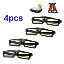 Free Shipping!!4pcs/lots 3D glasses Active shutter rechargeable for BenQ W1070 Optoma GT750e DLP 3D Emitter Projector Glasses(China)