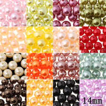 14mm 20pcs/lot Wholesale Straight Holes a vary of Color Acrylic DIY Beads For Jewelry Accessories Beads & Jewelry Making(China)